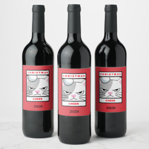 Fun Christmas Cheer Cat Lovers Design Wine Label