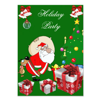 Fun Christmas Holiday Party Santa Dog Tree 4.5x6.25 Paper Invitation Card