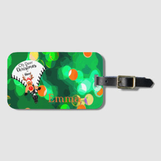 Fun Christmas in green personel name Luggage Tag