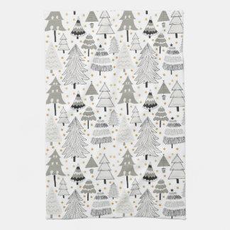 Fun Christmas Tree Farm pattern with gold dots Tea Towel