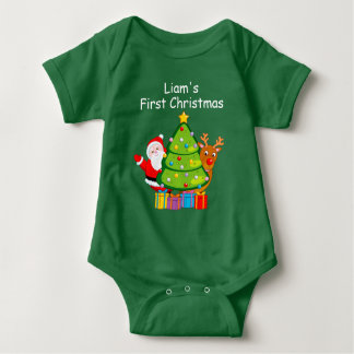 Fun Christmas tree with Santa Claus and Rudolph, Baby Bodysuit