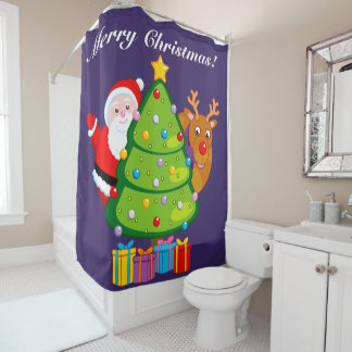 Fun Christmas tree with Santa Claus and Rudolph, Shower Curtain