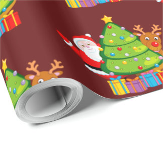 Fun Christmas tree with Santa Claus and Rudolph, Wrapping Paper