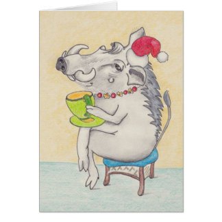 Fun Christmas warthog with teacup Card