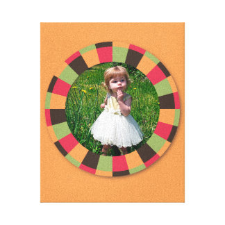 Fun Circle frame - sunset leaf on orange Gallery Wrapped Canvas