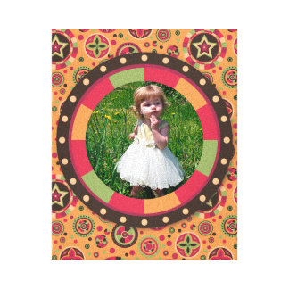Fun Circle frame - sunset leaf on pattern Gallery Wrapped Canvas
