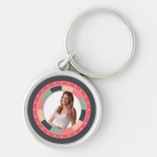 Fun Circle frame - vintage candy - dark Silver-Colored Round Key Ring