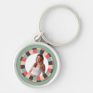 Fun Circle frame - vintage candy - green Silver-Colored Round Key Ring