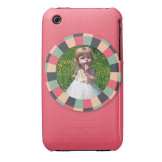 Fun Circle frame - vintage candy - hot pink iPhone 3 Case