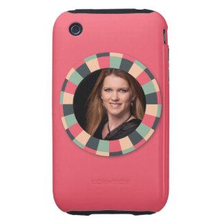 Fun Circle frame - vintage candy - hot pink iPhone 3 Tough Cases