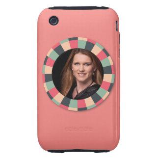 Fun Circle frame - vintage candy - pink2 iPhone 3 Tough Case