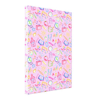 Fun Classroom Icons on Pink Gallery Wrapped Canvas