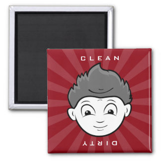 Fun Clean Or Dirty Two Faces in One Dishwasher Square Magnet