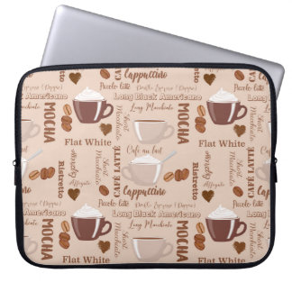 Fun Coffee Latte Cappuccino Pattern Laptop Sleeve
