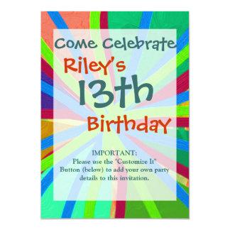Fun Color Paint Doodle Lines Converging Pin Wheel 13 Cm X 18 Cm Invitation Card