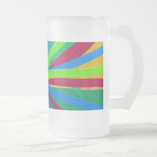 Fun Color Paint Doodle Lines Converging Pin Wheel Frosted Glass Beer Mug