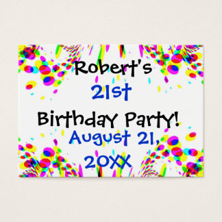 Fun Colorful 21st Or Any Age Birthday Party Card