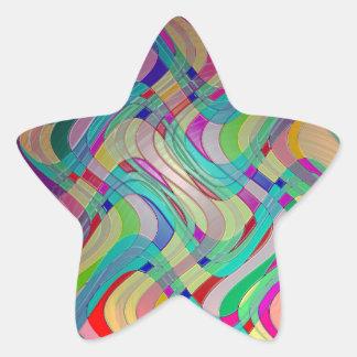 Fun Colorful Abstract Art Design Star Sticker
