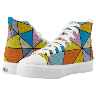 FUN Colorful Abstract Design High Top Shoes Printed Shoes