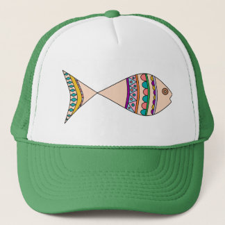 Fun Colorful Abstract Fish Design Trucker Hat