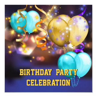 Fun Colorful Balloons Streamers Birthday Party 13 Cm X 13 Cm Square Invitation Card