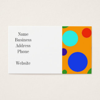 Fun Colorful Big Polka Dots Blue Orange Green Business Card