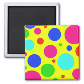Fun Colorful Big Polka Dots on Yellow Magnet
