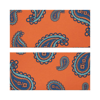Fun Colorful Blue and Orange Paisley Pattern Canvas Prints