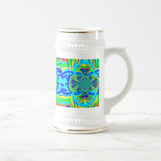 Fun Colorful Butterfly Flower Abstract Fractal Art Beer Steins