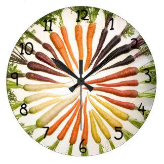 Fun Colorful Carrots Large Clock