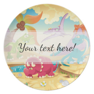 Fun Colorful Cartoon Dinosaurs Plate