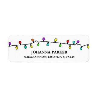 Fun Colorful Christmas Lights Holiday Pattern Return Address Label