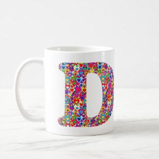 Fun Colorful Dynamic Heart Filled D Monogram Coffee Mug