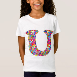 Fun Colorful Dynamic Heart Filled U Monogram T-Shirt