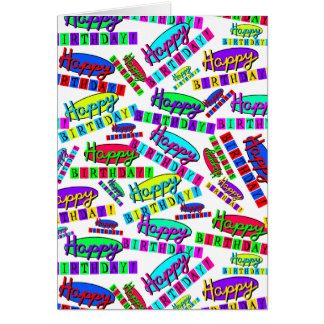 Fun Colorful Dynamic Retro Happy Birthday Pattern Card