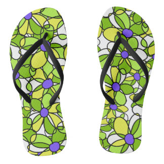 Fun Colorful Dynamic Whimsical Floral Pattern Thongs