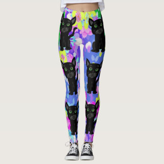 Fun Colorful Floral with Black Cats Leggings
