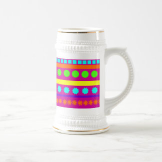 Fun Colorful Fuschsia Geometric Shapes Stripes Beer Steins