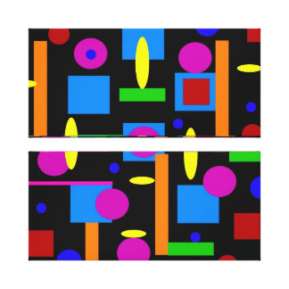 Fun Colorful Geometrical Shapes Circles Squares Stretched Canvas Print