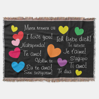 Fun Colorful Hearts I Love You in Many Languages Throw Blanket