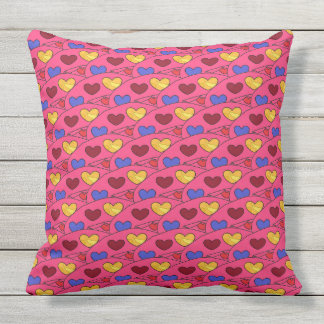 Fun Colorful Hearts on PINK Large Cushion