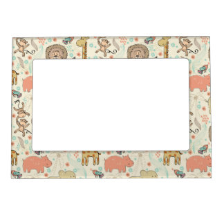 Fun Colorful Jungle Animal Pattern Magnetic Picture Frame