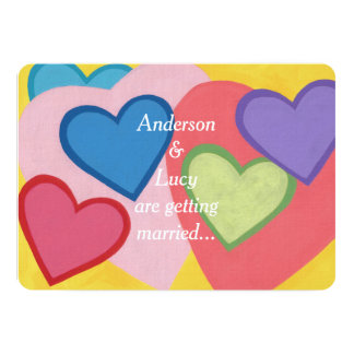 Fun Colorful Layered Hearts Custom Wedding Invites