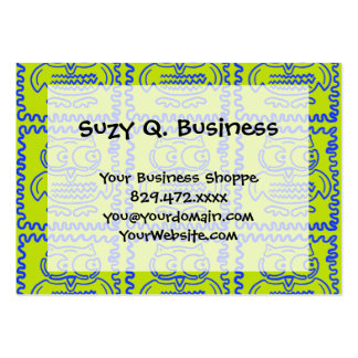 Fun Colorful Owls Lime Green Blue ZigZag Pattern Business Card