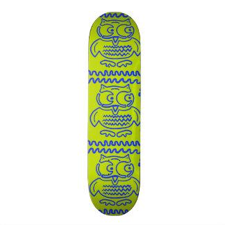 Fun Colorful Owls Lime Green Blue ZigZag Pattern Skate Board Decks
