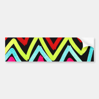 Fun Colorful Painted Chevron Tribal ZigZag Striped Bumper Sticker