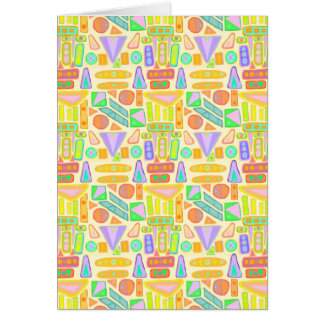 Fun colorful pattern abstract symbols bright color greeting card