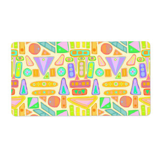 Fun colorful pattern abstract symbols bright color shipping label