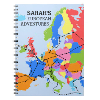 Fun Colorful Personalized European Travel Journal Notebook