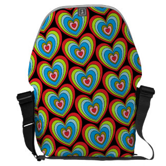 Fun Colorful Rainbow Hearts Pattern Black Commuter Bags